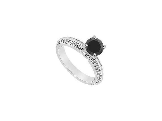 Created Sapphire and Cubic Zirconia Ring 10K White Gold 3.50 Carat Total Gem Weight