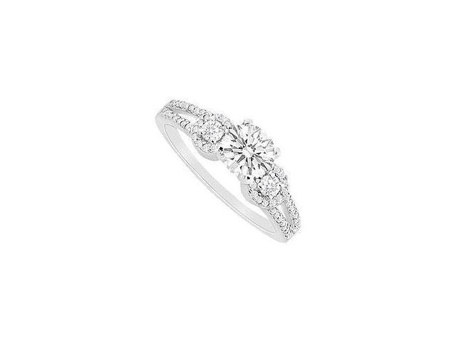 Emerald and Diamond Ring 14K White Gold 1.75 CT TGW
