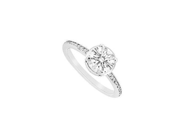 Blue Sapphire Ring 14K White Gold 1.00 CT TGW