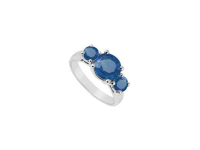 Created Sapphire and Cubic Zirconia Ring 10K White Gold 4.00 Carat Total Gem Weight