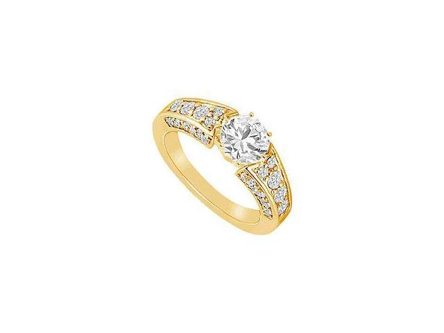 Emerald and Diamond Ring 14K White Gold 0.50 CT TGW