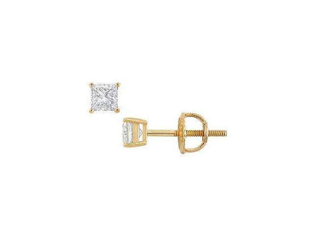 18K Yellow Gold Princess Cut Diamond Stud Earrings 0.25 CT. TW.