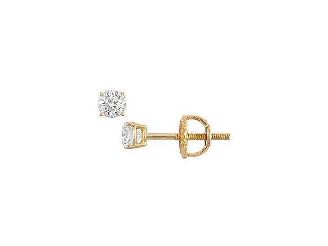 18K Yellow Gold Round Diamond Stud Earrings 0.10 CT. TW.