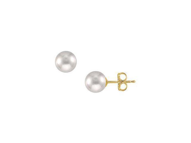 Freshwater Cultured Pearl Stud Earrings 14K Yellow Gold 10 MM