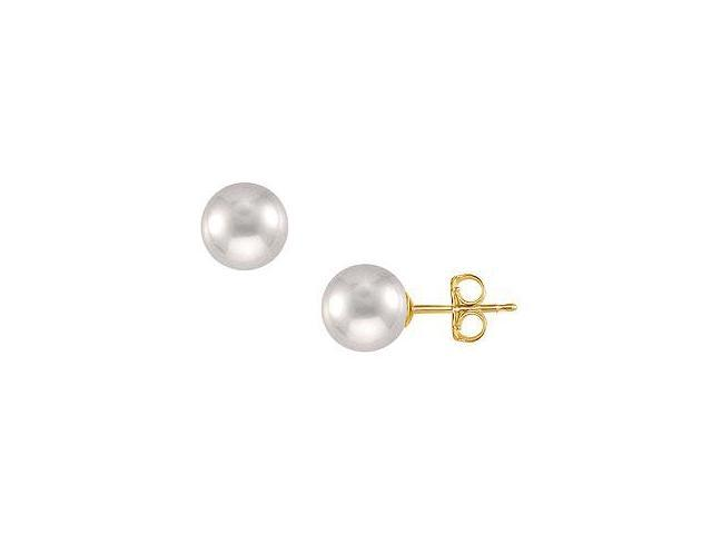 Freshwater Cultured Pearl Stud Earrings 14K Yellow Gold 11 MM