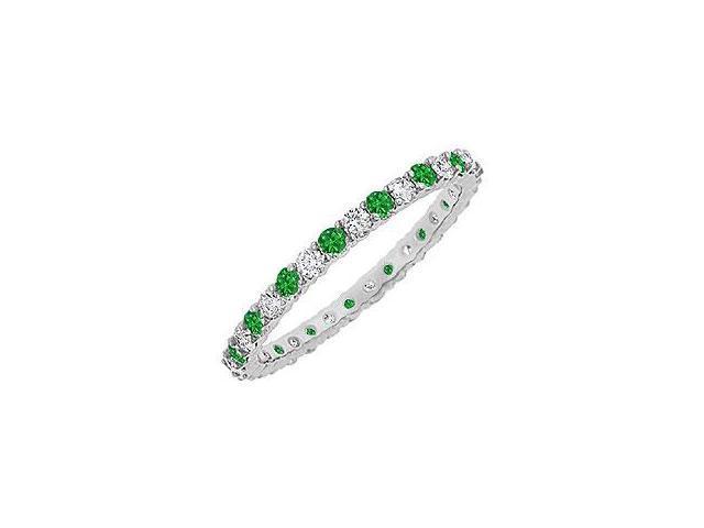 Emerald and Diamond Eternity Bangle 14K White Gold 10.00 CT TGW