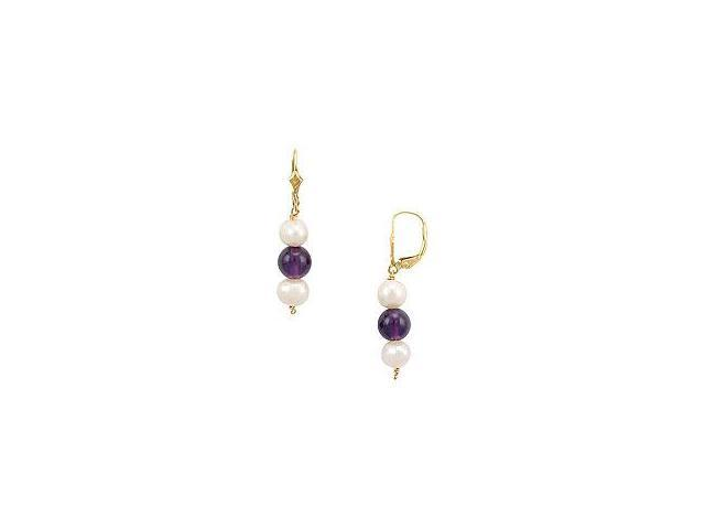 Cultured Pearl and Amethyst Earrings 14K Yellow Gold 5.00 CT TGW