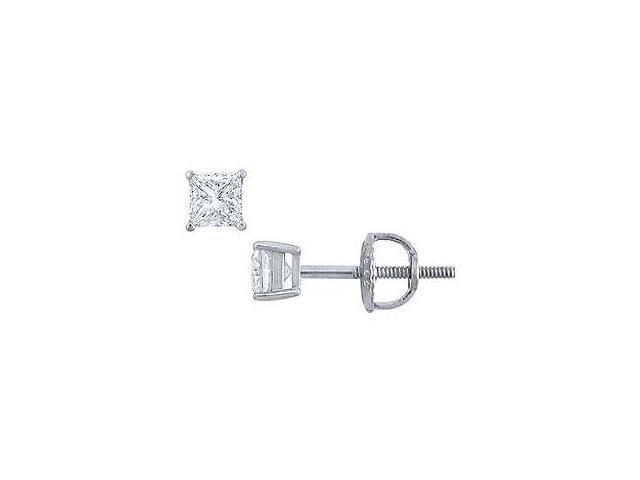 Platinum Princess Cut Diamond Stud Earrings 0.25 CT. TW.