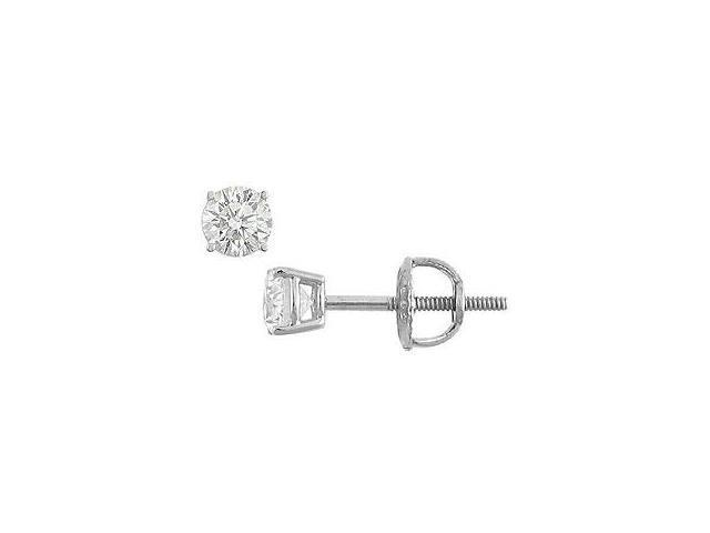 14K White Gold Round Diamond Stud Earrings 0.25 CT. TW.