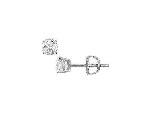 18K White Gold Round Diamond Stud Earrings 0.33 CT. TW.