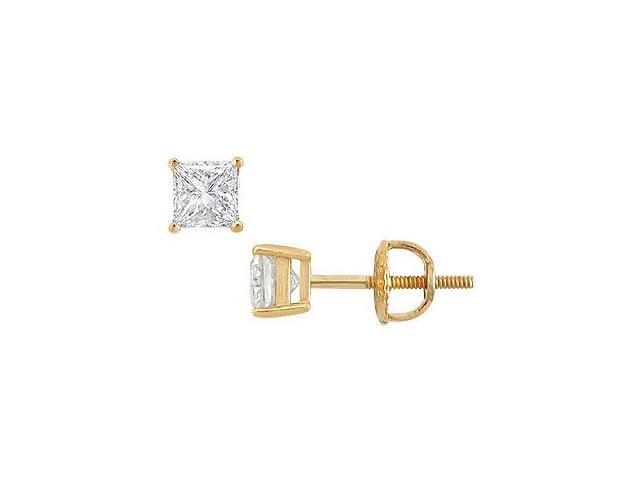 14K Yellow Gold Princess Cut Diamond Stud Earrings 0.50 CT. TW.