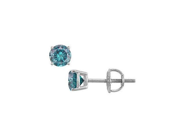 Blue Diamond Stud Earrings 14K White Gold 0.50 CT Diamonds