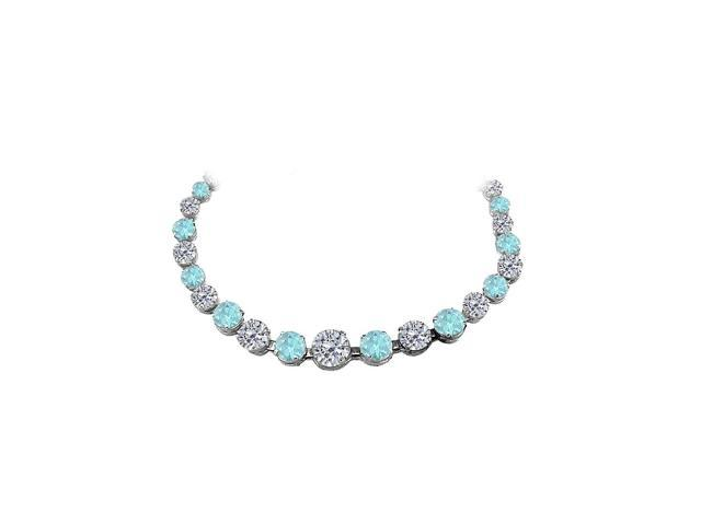 Created Aquamarine CZ Graduated Necklace in 925 Sterling Silver