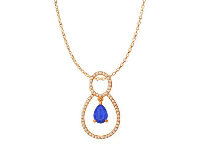 Pear Shape Sapphire Cubic Zirconia Accented Pendant