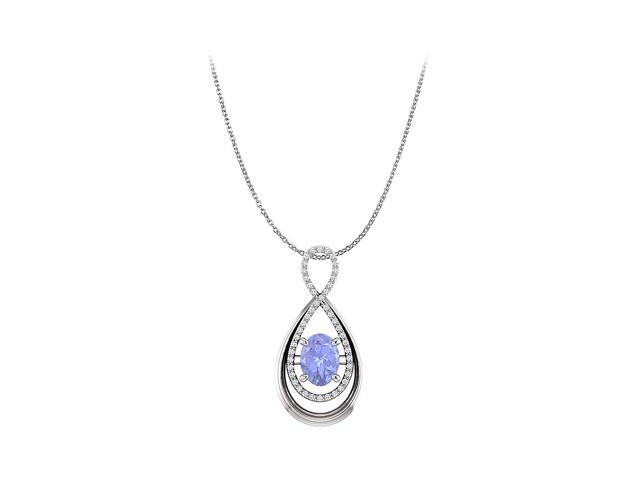 Oval Tanzanite and Round CZ Infinity Pendant in Gold