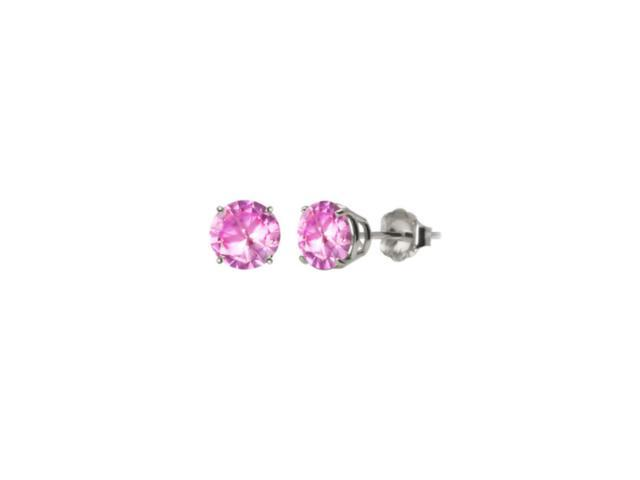 10k White Gold Over Sterling Silver 2 Carat Round Pink Imitation Diamond Stud