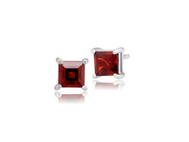 10k White Gold Over Sterling Silver 1/2 Carat Princess Garnet Cz Earrings