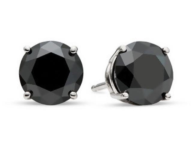 14K White Gold 3 Carat Black Genuine Diamond Stud Designed in France by Paris