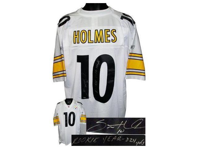 Santonio Holmes signed Pittsburgh Steelers Reebok EQT Rookie Year 824 yds- Holmes Hologram