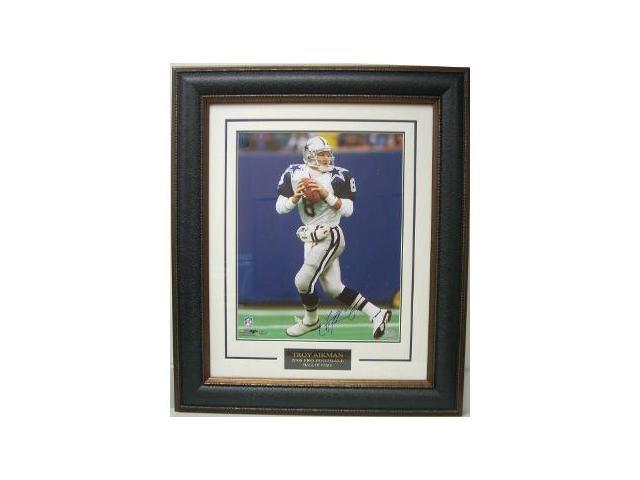 Troy Aikman signed Dallas Cowboys 16x20 Photo Custom Leather Premium Framed- Aikman Hologram