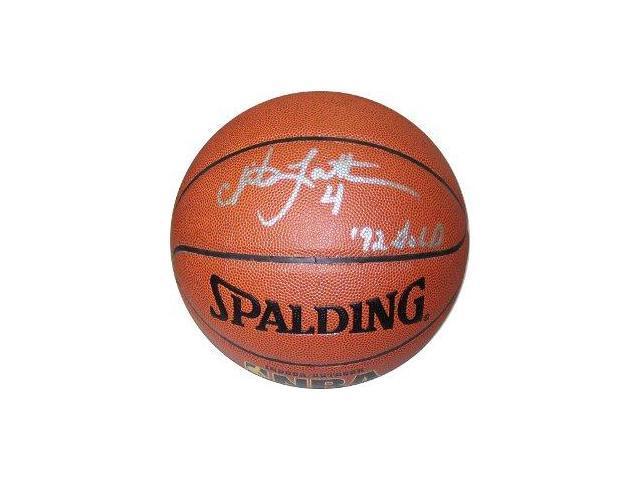 Christian Laettner signed Indoor/Outdoor Basketball 92 GOLD- JSA Hologram
