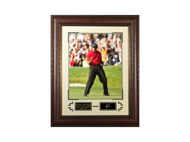 Tiger Woods unsigned Engraved Collection 34x25 Leather Framed Fist Pump 2008 US Open Champion