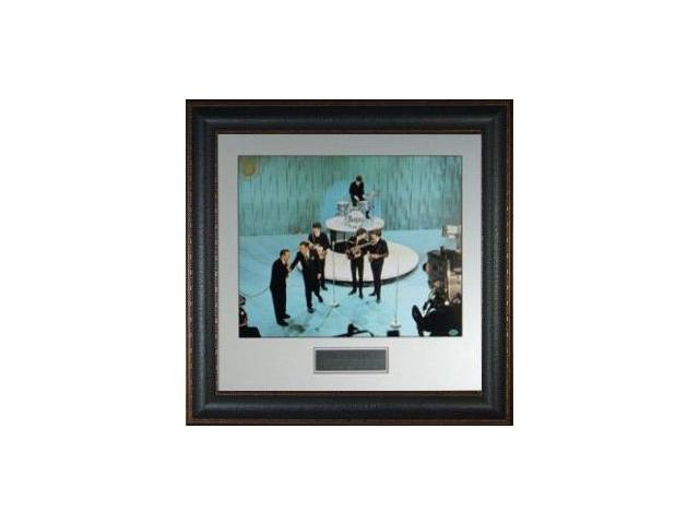 The Beatles unautographed 11X14 Leather Framed Ed Sullivan Show