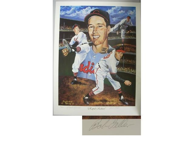 Bob Feller signed Cleveland Indians 18x24 Lithograph