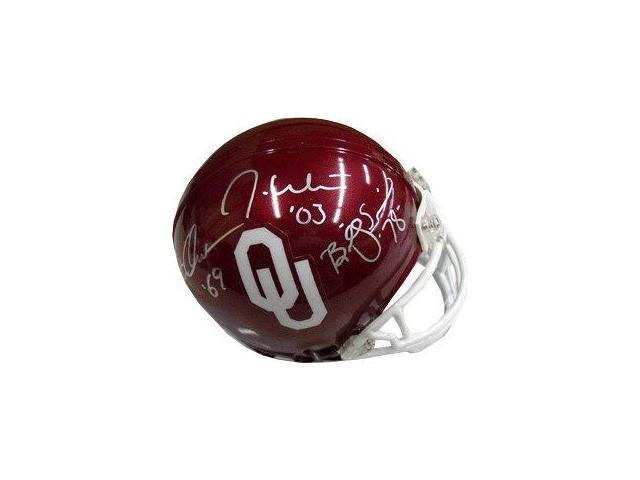 Billy Sims signed Oklahoma Sooners Heisman Trophy Winners Replica Mini Helmet- Signed by 3