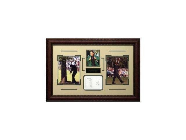 Phil Mickelson unsigned 3-Time Masters Champion Tribute 34x23 Leather Framed
