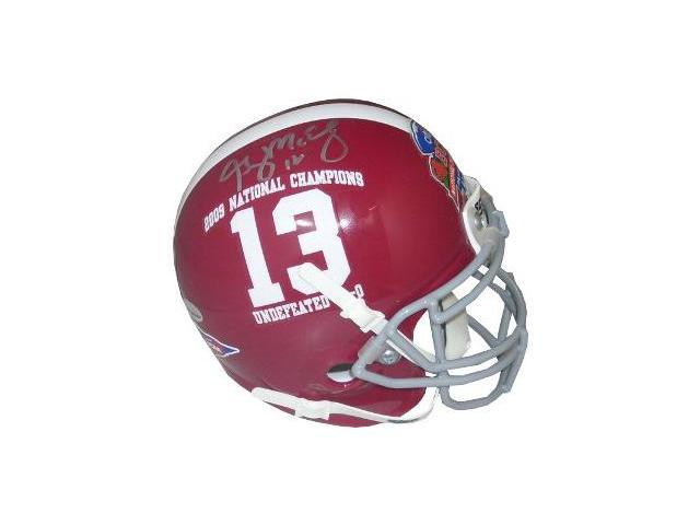 Greg McElroy signed Alabama Crimson Tide Authentic Schutt Mini Helmet 2009 National Champs #13 Logo- McElroy Hologram