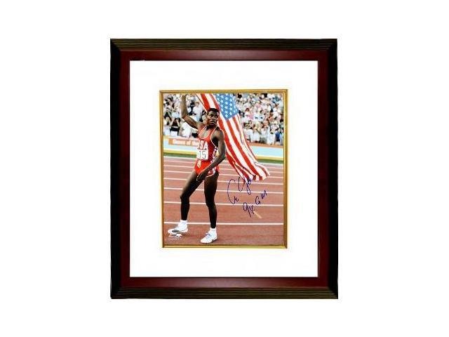 Carl Lewis signed Team USA 16x20 Flag Photo 9 X GM Custom Framed- Tri-Star Hologram