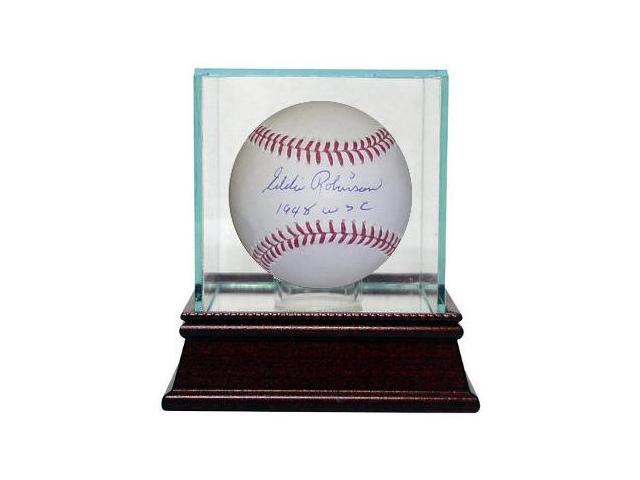 Eddie Robinson signed Official Major League Baseball w/ Glass Case 1948 WSC- JSA Hologram