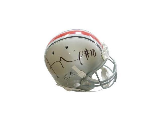 Troy Smith signed Ohio State Buckeyes Full Size Replica Schutt Helmet HT 06