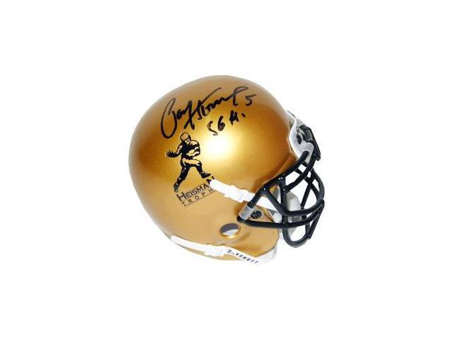 Paul Hornung signed Heisman Gold Schutt Authentic Mini Helmet 56 H