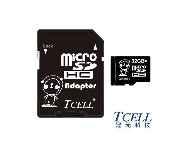 TCELL KUMA TC-TFH32GCA Bear 32GB Micro SDHC Class 10 Flash Memory Card w/ Adapter