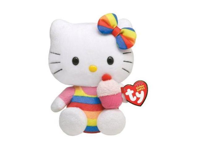 Ty Beanie Babies 6'' Rainbow HELLO KITTY w/ Cupcake