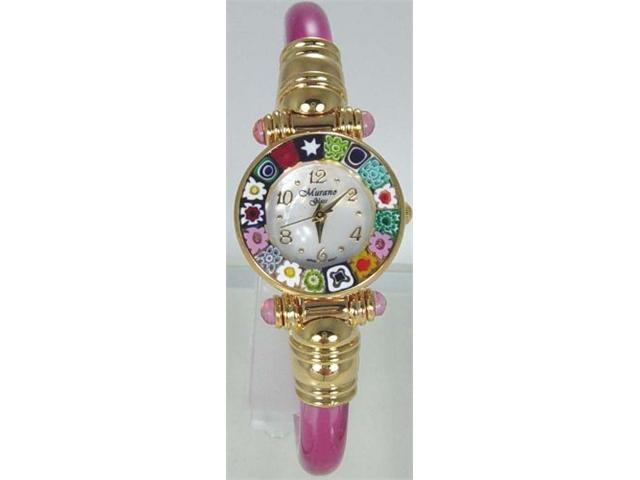 CA D'ORO Murano Millefiori Bangle Watch - Clear Pink Bracelet