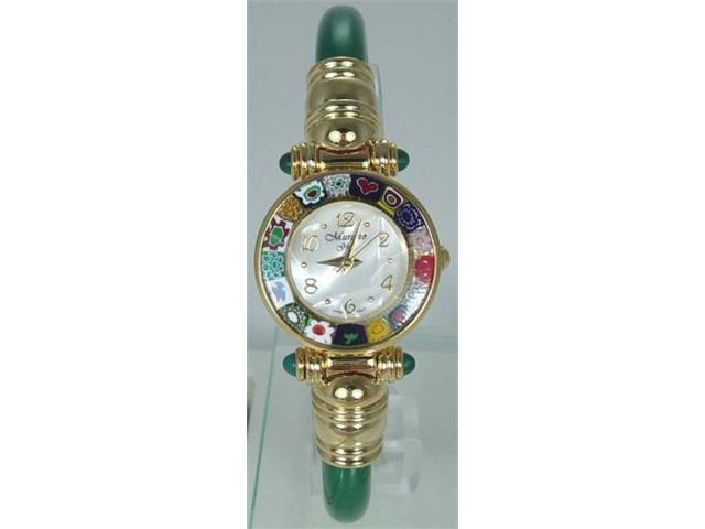 CA D'ORO Murano Millefiori Bangle Watch - Opaque Green Bracelet