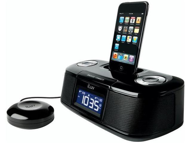 Great iLuv Vibro Desktop Alarm Clock with Bed Shaker for iPod iMMBLK