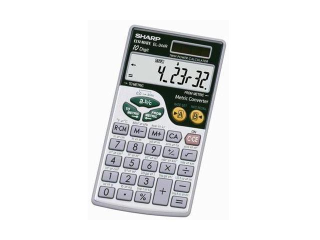 "Sharp EL344RB Metric Conversion Travel Calculator - Battery/Solar Powered - 2.8"" x 0.2"" x 0"" - Silver - 1 Each"