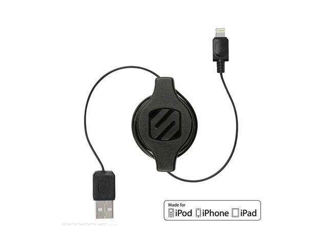 SCOSCHE I2R Strikeline Pro Retractable Charge and Sync Cable for Lightning Devices - Retail Packaging - Black
