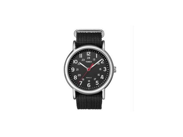 Timex Men's Weekender T2N647 Black Nylon Analog Quartz Watch with Black Dial