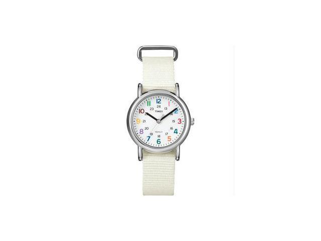 Timex Weekender Brass White Nylon Ladies Watch T2N837