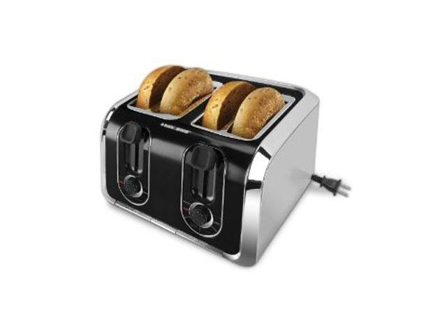 Black & Decker TR1400SB Toaster - Toast, Bagel, Reheat, Defrost - Brushed Stainless Steel, Black