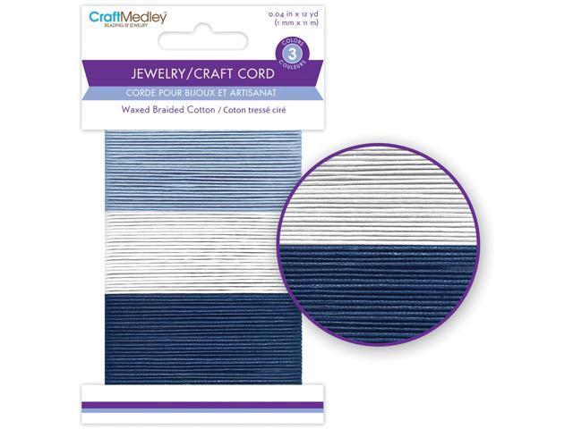 Waxed Braided Cotton Cord 1Mmx36'-Cloud