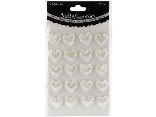 Bella! Wedding Self-Adhesive Hearts 20/Pkg-White