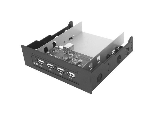 SIIG Hi-Speed USB 4-Port Bay Hub (Black) - 4 x Type A Female USB 2.0 USB, 1 x Type A Female USB 2.0 USB Internal - Internal
