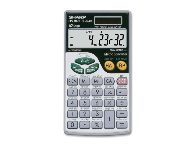 Sharp EL344RB Metric Conversion Travel Calculator - Battery/Solar Powered - 2.8