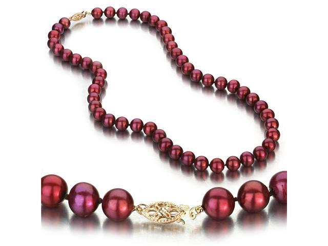 Cranberry Freshwater Cultured Pearl Necklace, 14k Yellow Gold Fishhook Clasp, 8-9mm AA+ Quality Pearls, 18 Inch Necklace